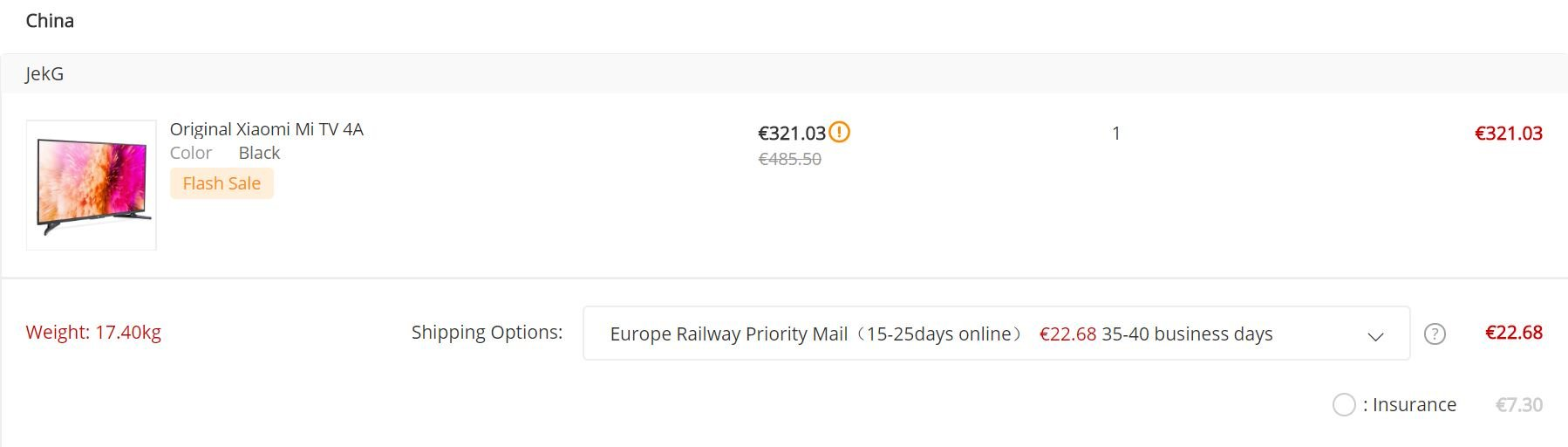 Gearbest Europe Railway Priority Mail