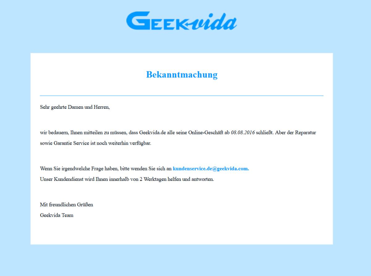 Geekvida pleite geschlossen