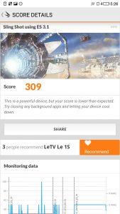 LeTV 1S 3DMark - Singshot 3.1 - 309