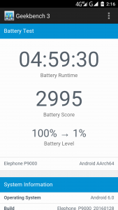 Elephone P9000 Geekbench 3 Battery Benchmark