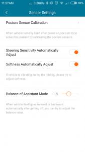 Xiaomi ninebot Mini Sensoreinstellungen