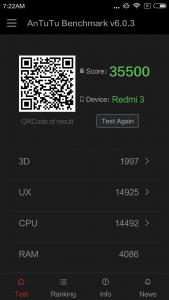 Xiaomi Redmi 3 Antutu Benchmark