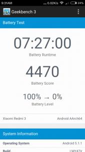 Xiaomi Redmi 3 Geekbench Battery Akkutest
