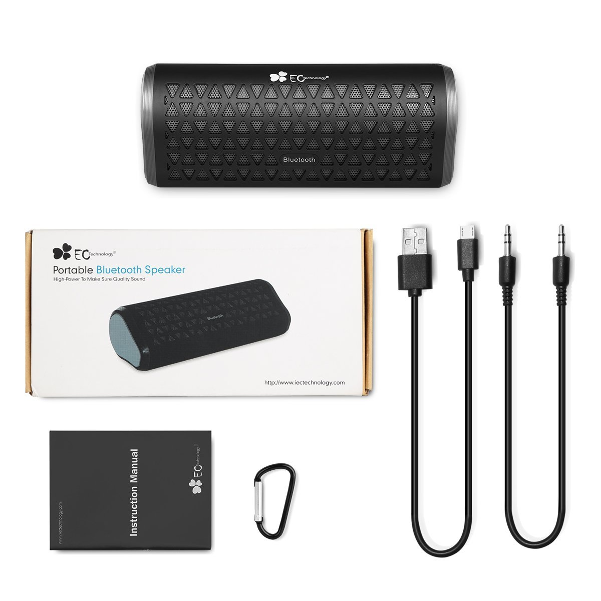 Der Lieferumfang umfasst die Bluetooth Lautsprecher, ein MicroUSB-Kabel, ein Kinkenkabel und einen Karabinerhaken.
