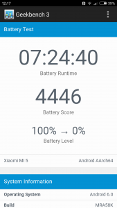 Xiaomi Mi 5 Akkulaufzeit Geekbench Battery test