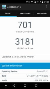ZTE Axon Mini Geekbench 3