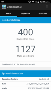 ZTE Blade V7 Lite Geekbench 3 benchmark
