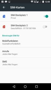 Dual Sim Android Simkarte deaktivieren