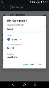 Dual Sim Android Simkarte kennzeichnen
