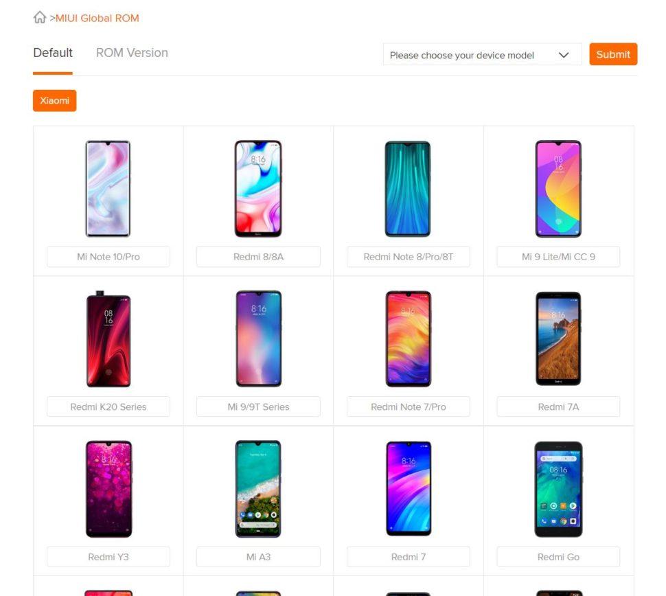 Xiaomi ROM Übersicht
