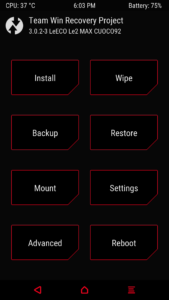 TWRP Recovery LeEco Le max 2 169x300