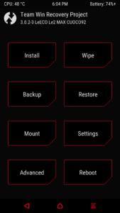 TWRP Recovery LeEco Le max 2 Factory Reset Wipe 1 169x300