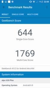 Oukitel U20 Plus Geekbench 4 169x300