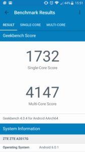 ZTE Axon 7 Geekbench 4