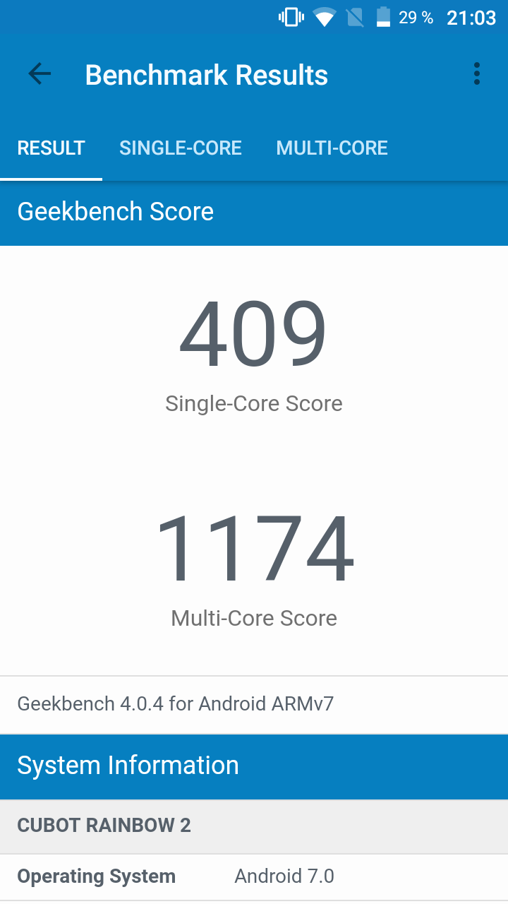 Cubot Rainbow 2 Geekbench
