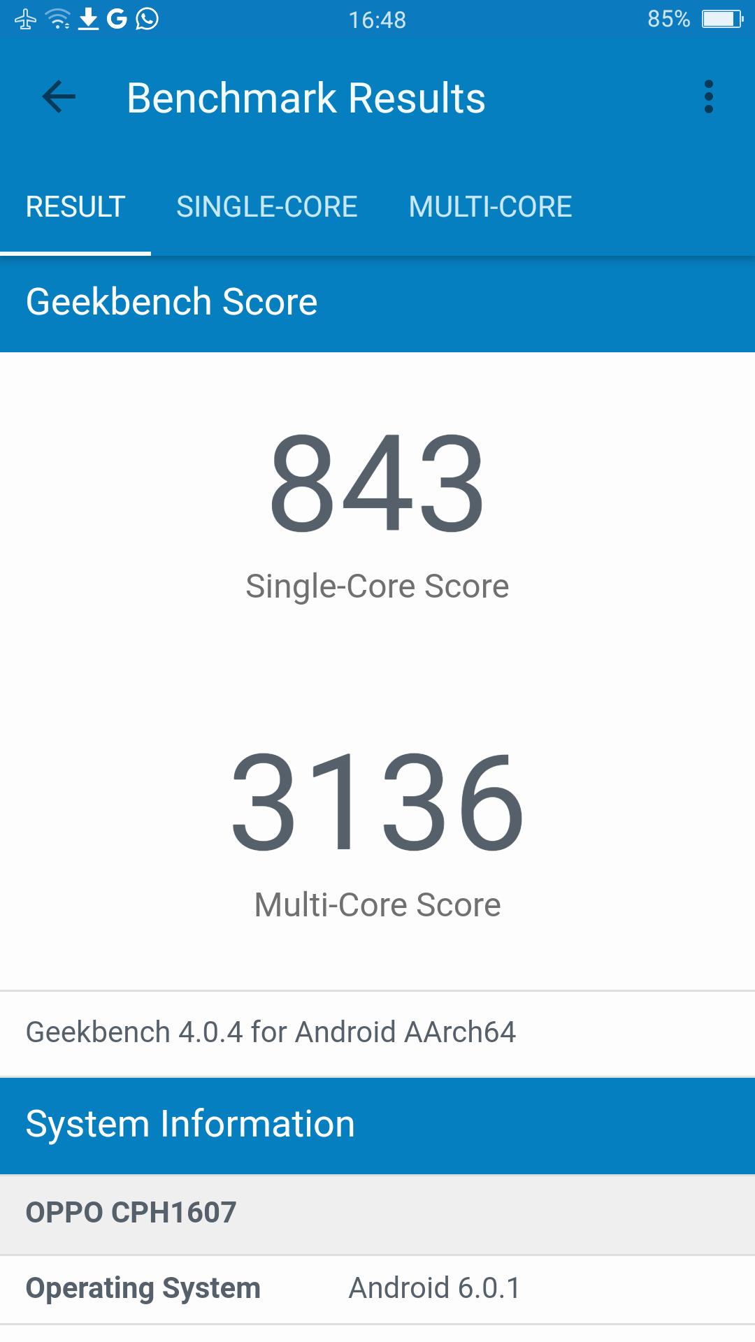Oppo R9S Geekbench 4