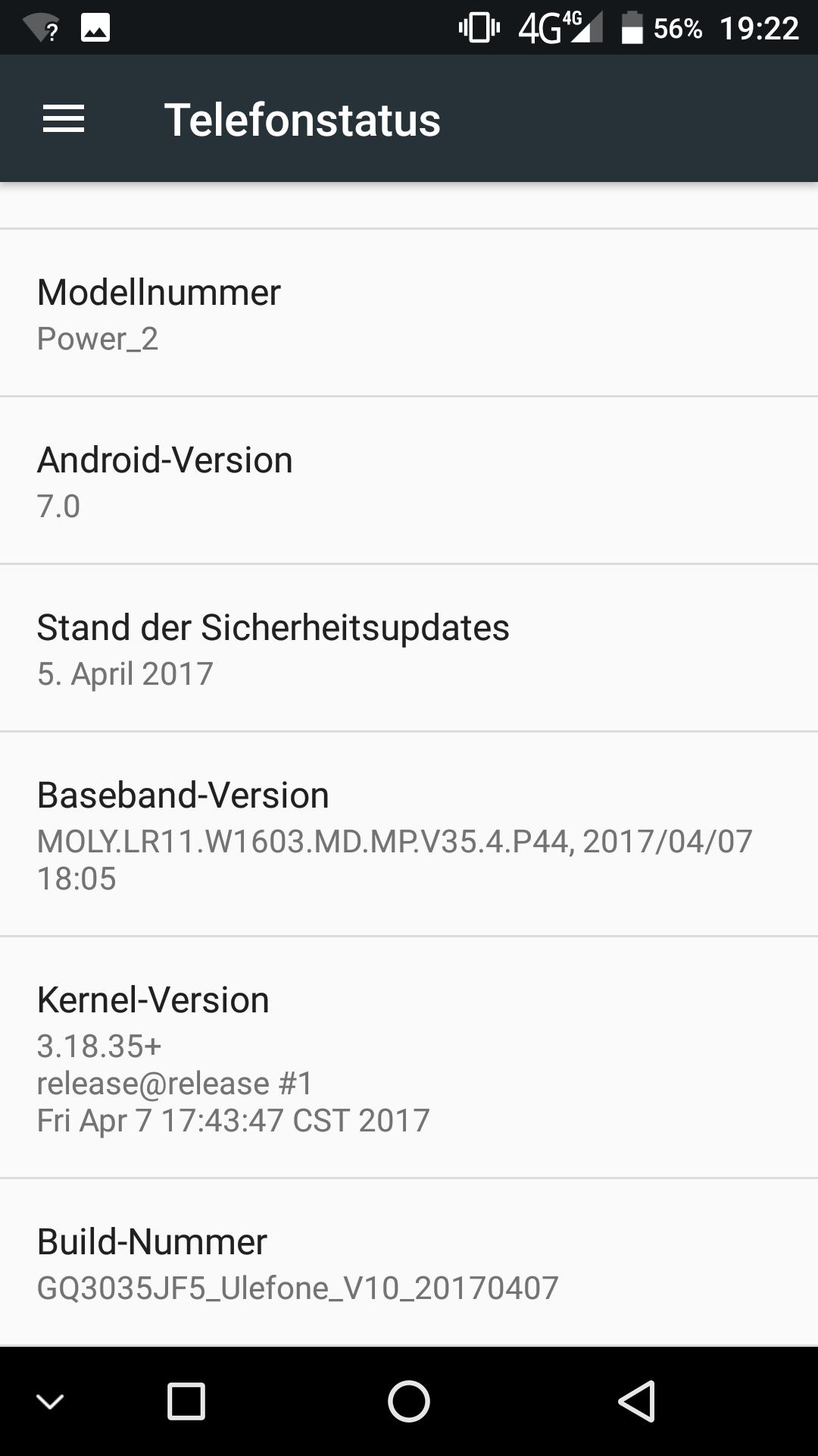 UlefonePowerII android4