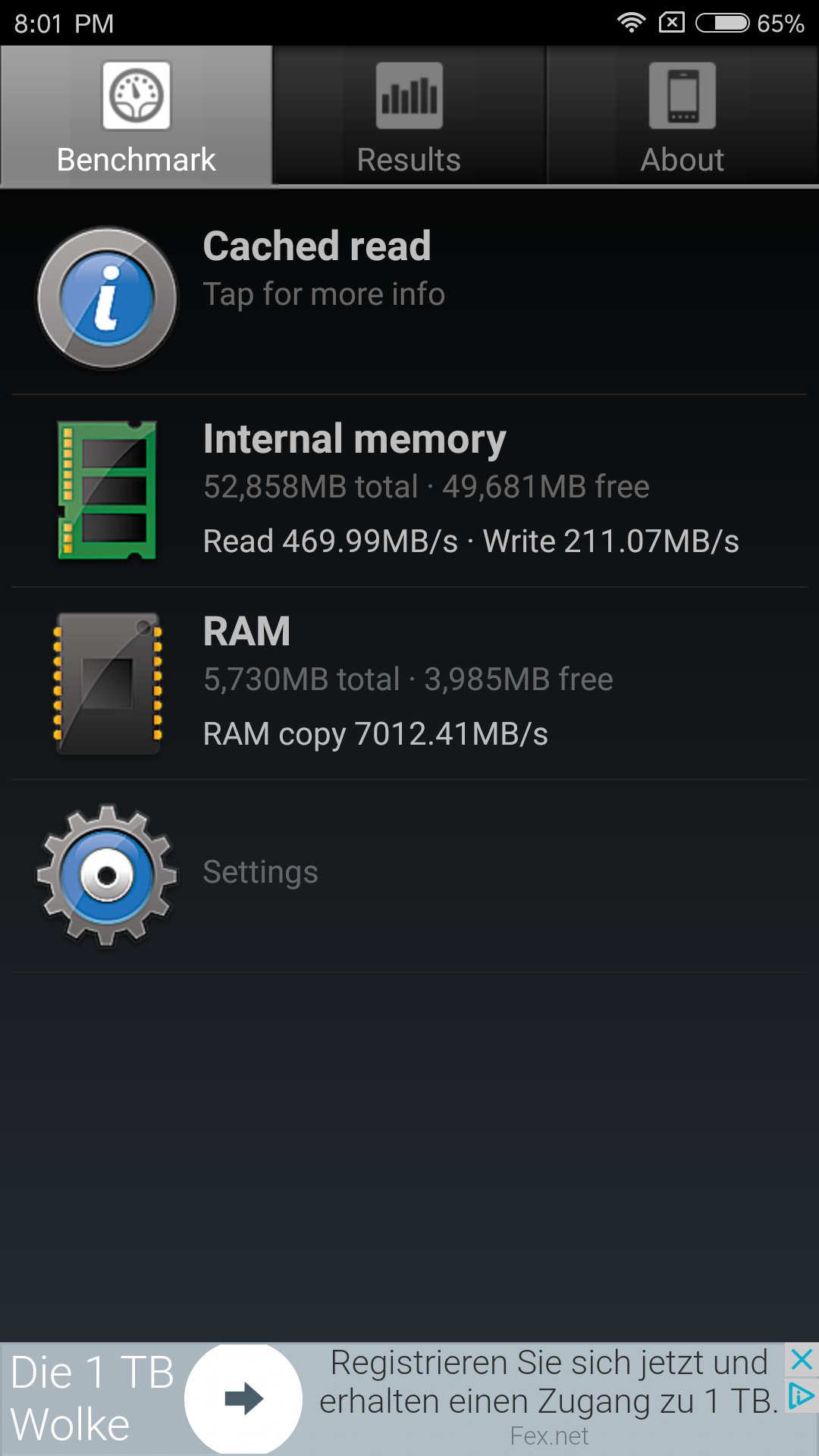Xiaomi Mi6 Speicher Geschwindigkeiten