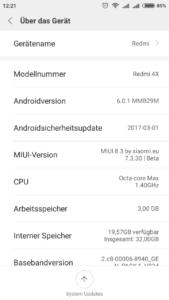Xiaomi Redmi 4X System MIUI 1