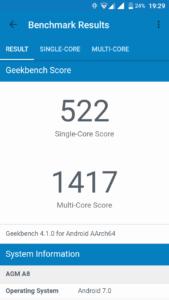 AGM A8 Geekbench 4 1