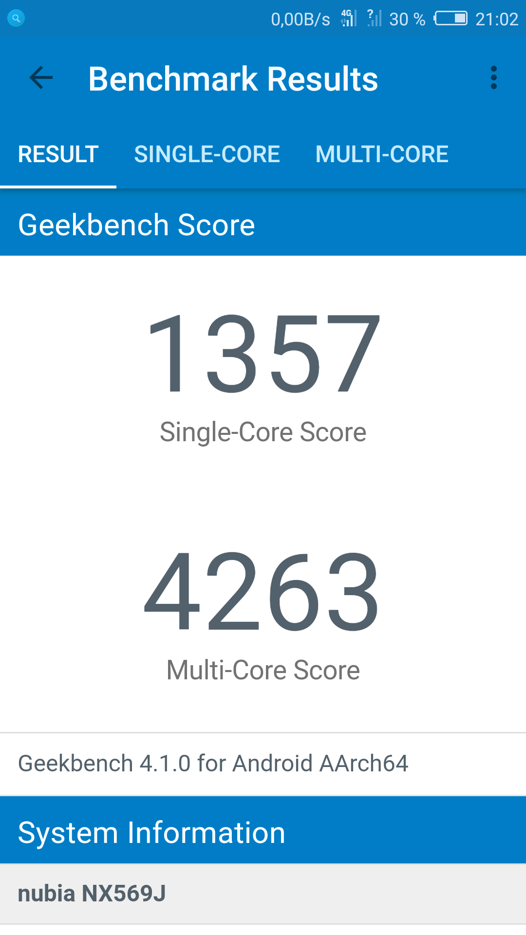 Nubia Z17 Mini Geekbench 4
