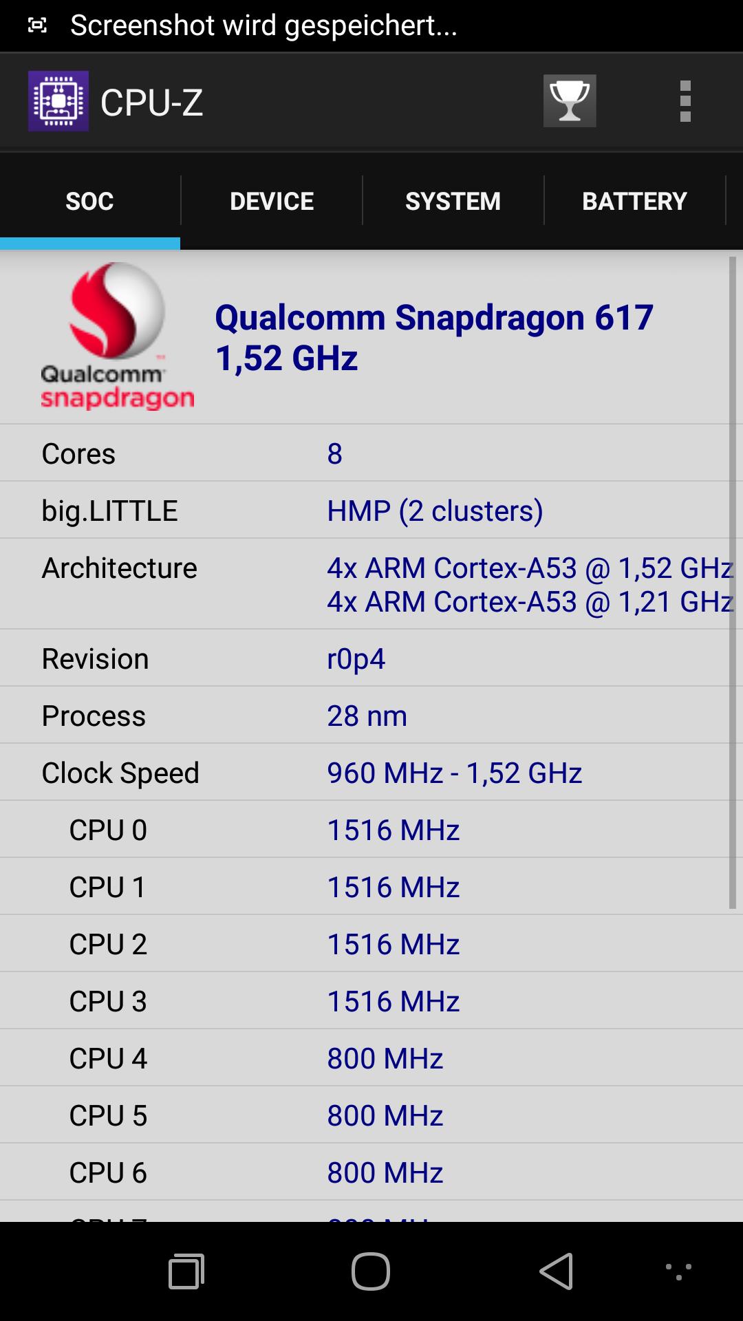 Coolpad Max CPU