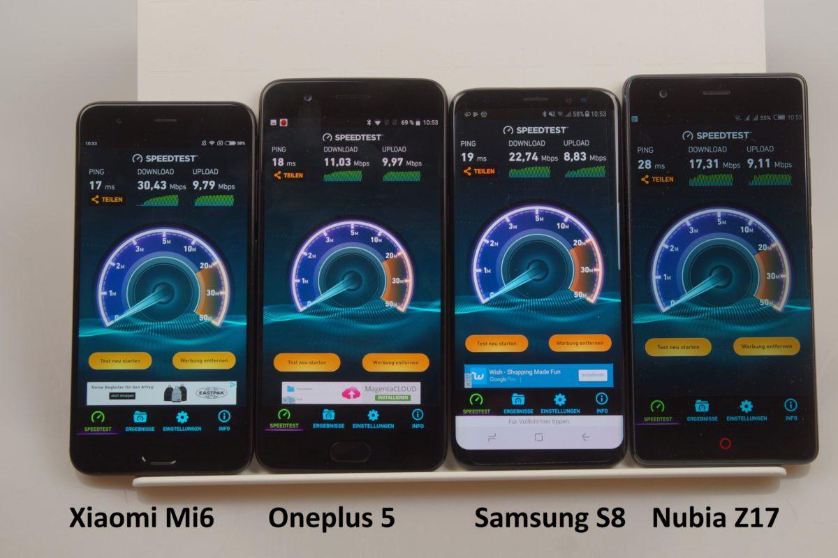 WLAN Xiaomi Mi6 Oneplus 5 Samsung S8 Nubia Z17