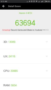 Xiaomi Mi5X Antutu Benchmark
