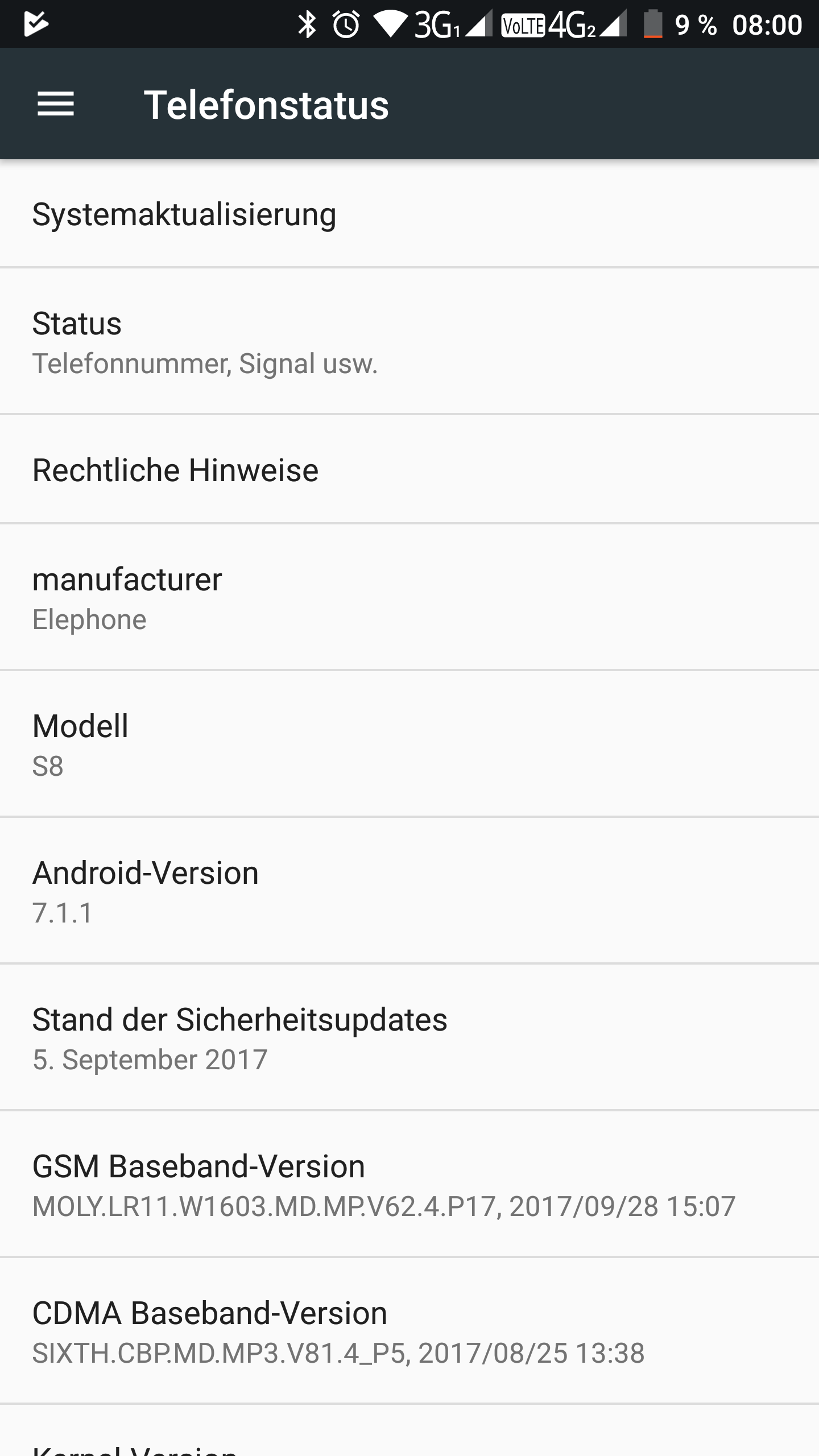 Elephone S8 System Android 7 4