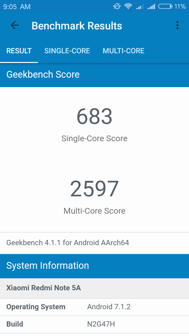 Xiaomi Redmi Note 5a Geekbench 4 1