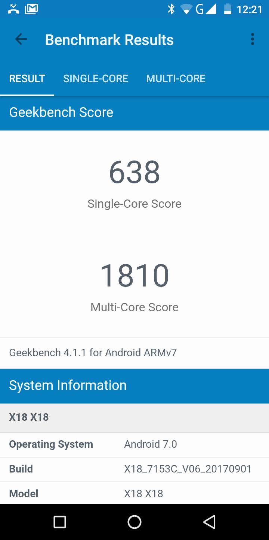 Cubot X18 Geekbench 4