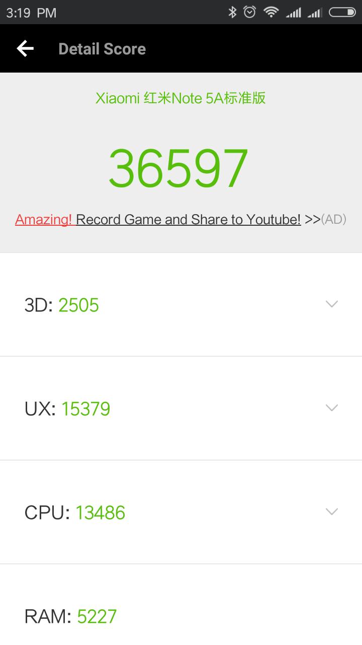 Xiaomi Redmi Note 5a Antutu