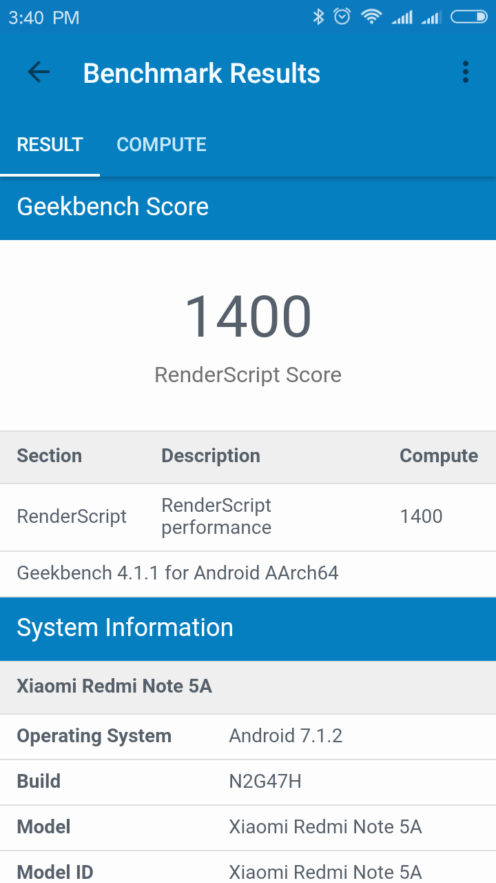 Xiaomi Redmi Note 5a Geekbench 4 2