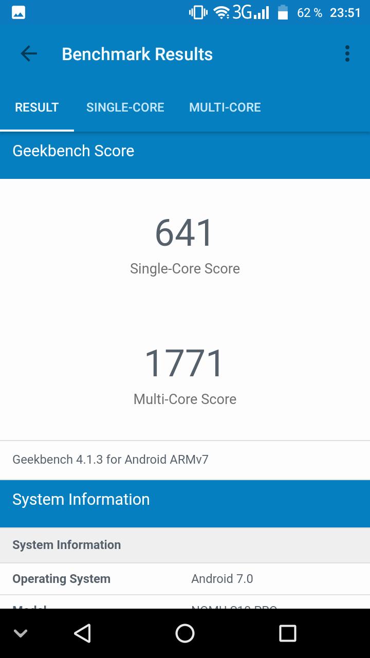 Nomu S10 Pro Benchmark Geekbench