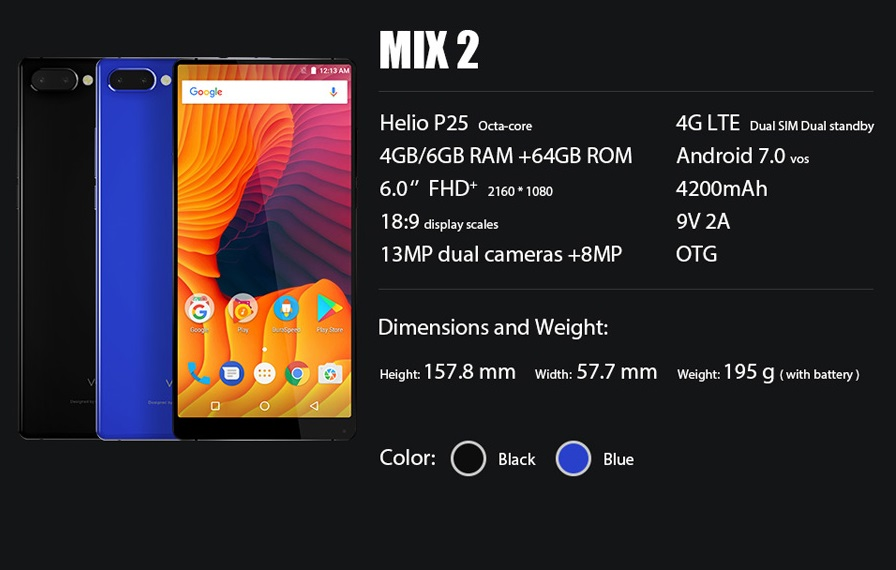 Vernee Mix 2 Specs Official