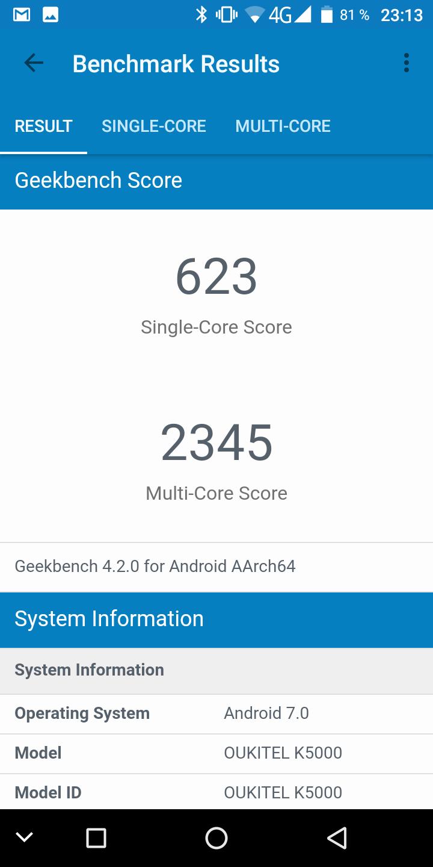 Oukitel K5000 Geekbench 4