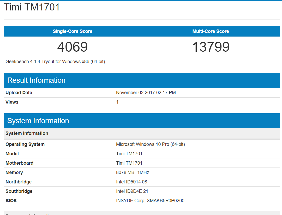 Xiaomi Mi Notebook Pro Geekbench 1