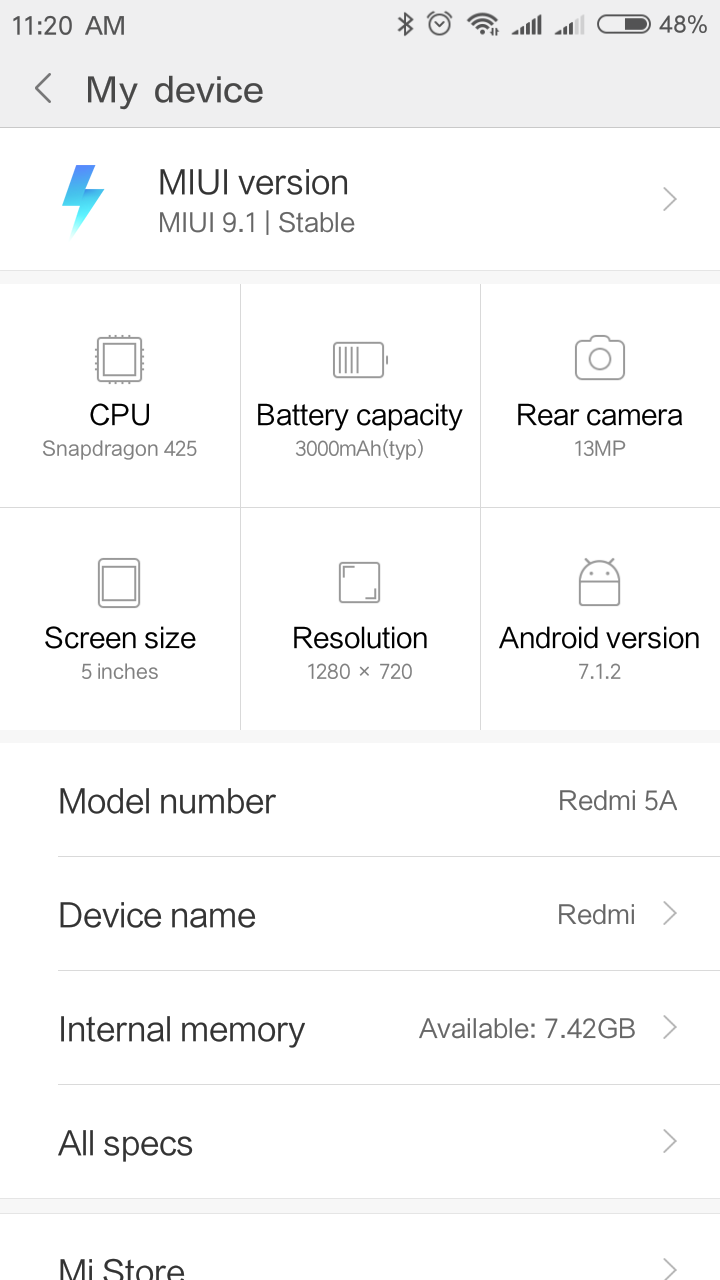 Xiaomi Redmi 5a System MIUI 9 Android 7.1 1