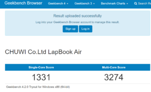 Chuwi Lapbook Air Geekbench