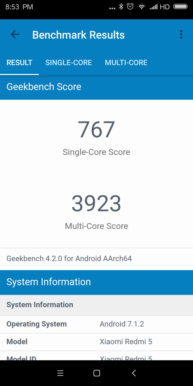 Xiaomi Redmi 5 Geekbench 4