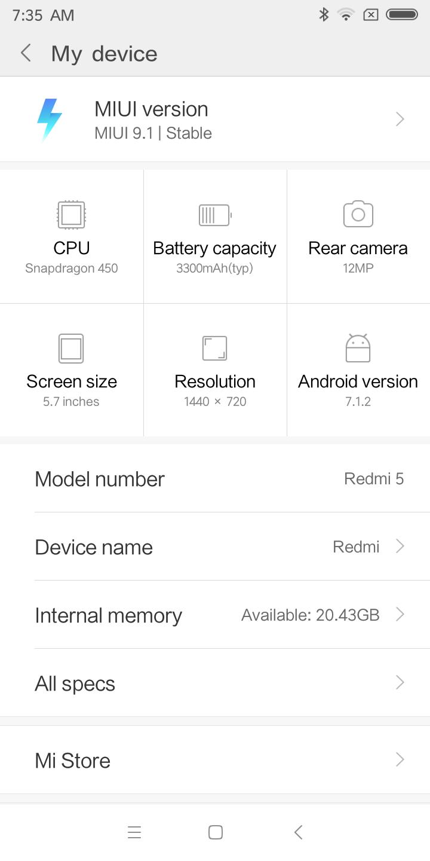Xiaomi Redmi 5 MIUI 9.1 System 1
