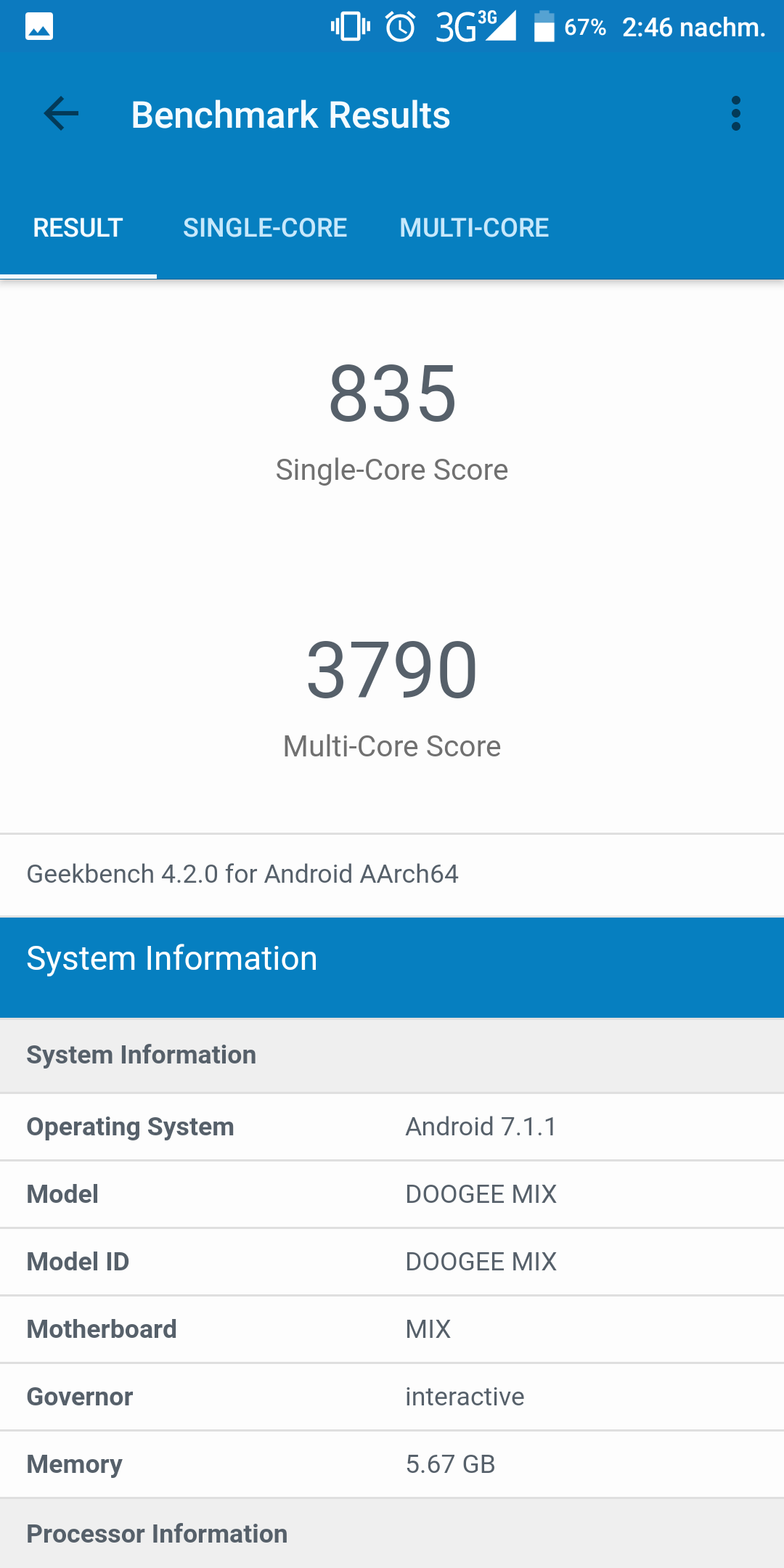 Doogee Mix 2 Geekbench