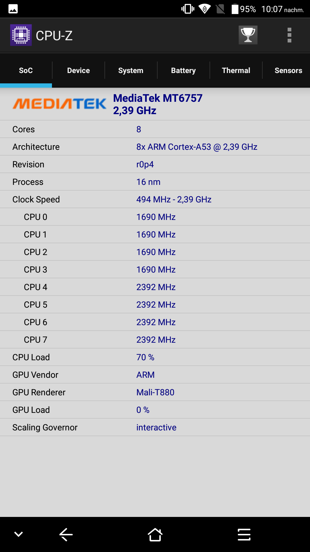 Blackview P6000 CPU Z