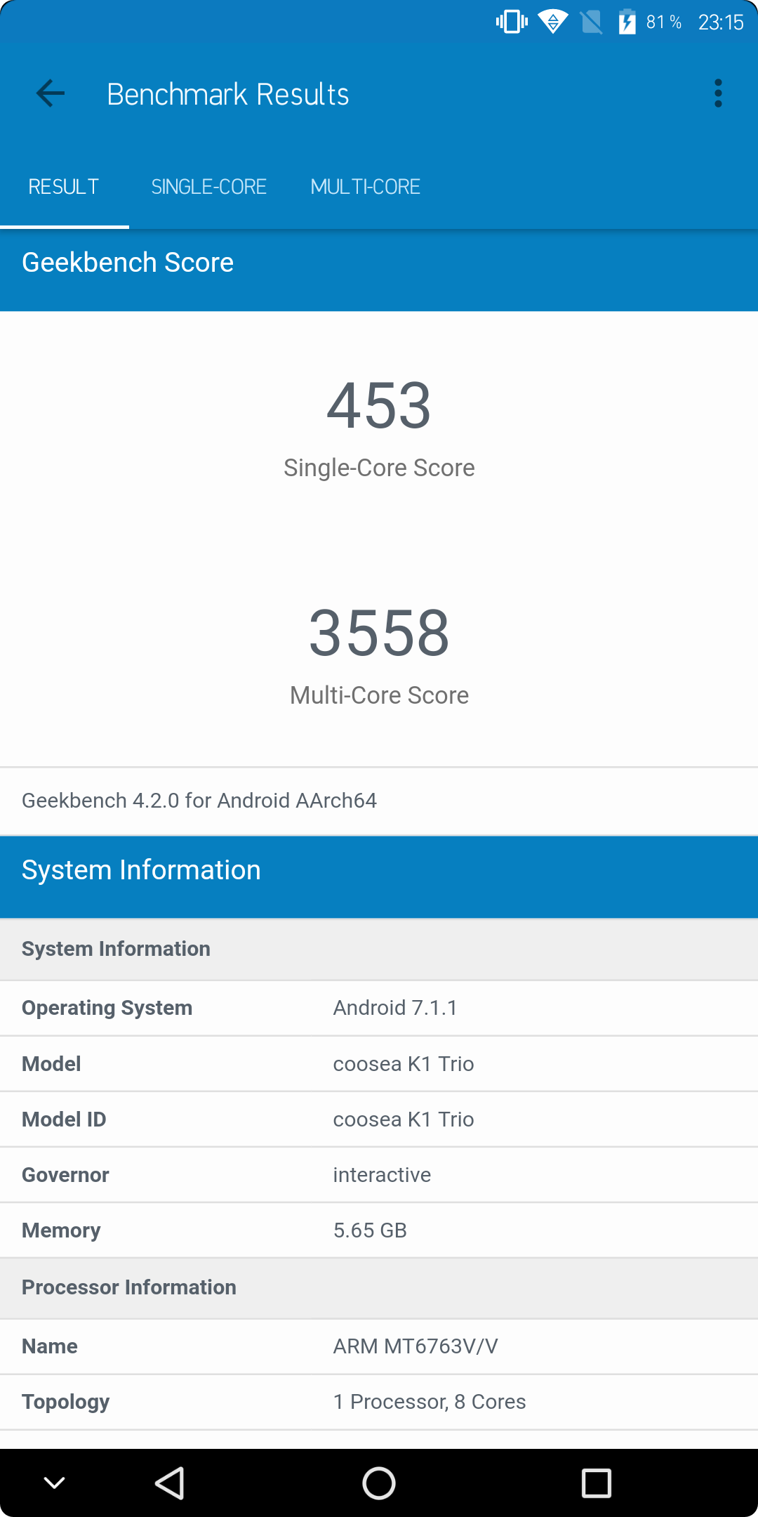 Koolnee K1 Trio Geekbench
