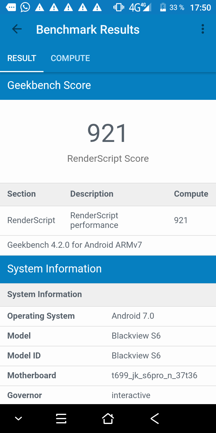 Blackview S6 Geekbench 4 2