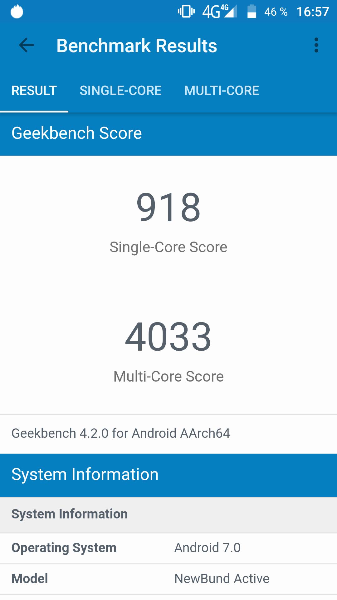 Vernee Active Geekbench