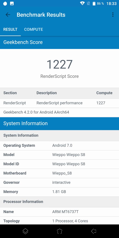 Wieppo S8 Geekbench 4 2