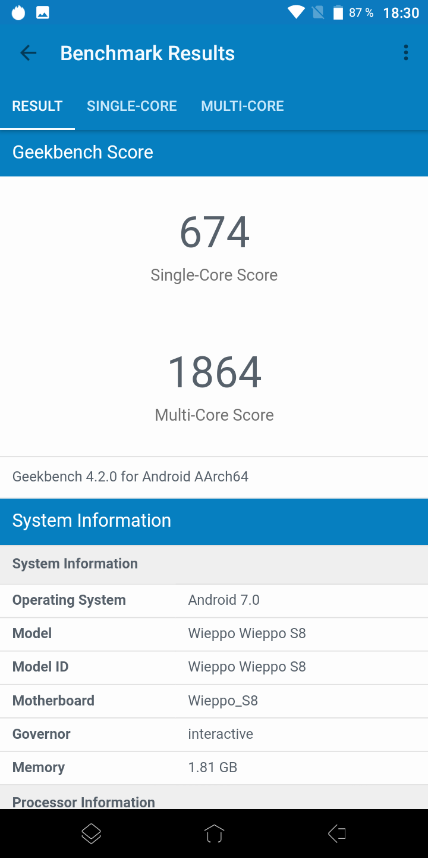 Wieppo S8 Geekbench 4