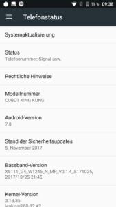 Cubot KingKong System Android 7 2