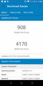 Cubot Power System Benchmarks 11